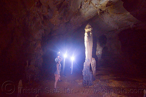 stalagmite - caving in mulu (borneo), cave formations, cavers, caving, clearwater cave system, clearwater connection, column, concretions, gunung mulu national park, natural cave, speleothems, spelunkers, spelunking, stalagmite