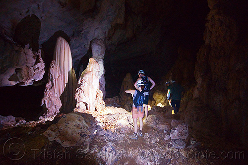 stalagmites - cave formations - caving in mulu (borneo), cavers, clearwater cave system, clearwater connection, concretions, gunung mulu national park, natural cave, speleothems, spelunkers, spelunking, stalagmite, stock photo
