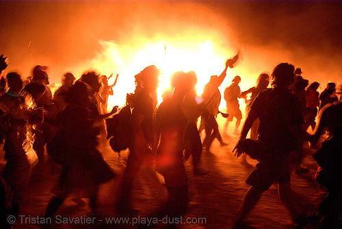 stampede around the burning man - burning man 2007, burning man, fire, flames, night of the burn, the man