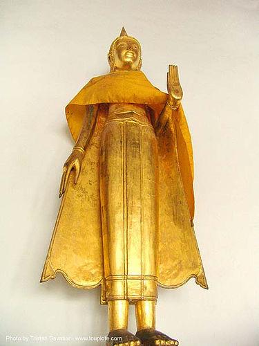 พระพุทธรูป ปางห้ามญาติ - standing buddha statue - golden - thailand, bangkok, buddha image, buddhism, buddhist temple, gilded, golden color, sculpture, wat, บางกอก, ประเทศไทย, พระพุทธรูป ปางห้ามญาติ