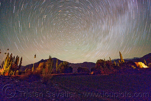 star trails - nubra valley - ladakh (india), concentric circles, diskit, ladakh, long exposure, milky way, night, nubra valley, polaris, star trails, stars