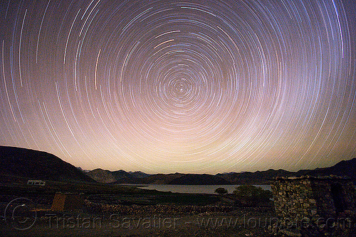 star trails - pangong lake - ladakh (india), concentric circles, india, ladakh, night, pangong lake, pangong tso, polaris, spangmik, star trails, stars