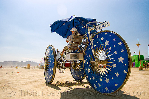 stardust trike - tricycle - burning man 2009, art car, blue, burning man, mutant vehicles, stardust, stars, three wheeler, trike, umbrella