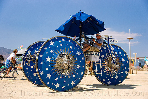 stardust trike - tricycle - burning man 2009, art car, blue, stardust, stars, three wheeler, tricycle, trike, umbrella