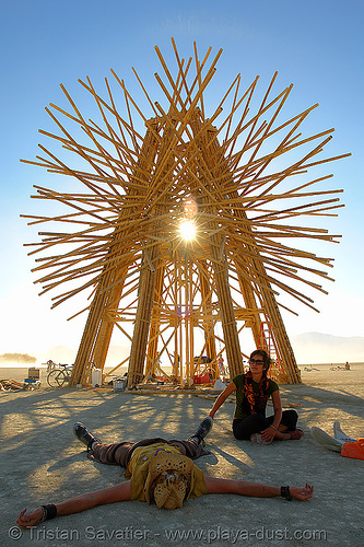 starry bamboo mandala - burning-man 2006, art installation, burning man, gerard minakawa, starry bamboo mandala