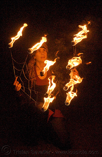 stasia with fire fans (san francisco), fire dancer, fire dancing, fire performer, fire spinning, flames, night, people, spinning fire