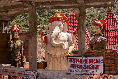 statue of ganesha in pilot baba ashram near bhagirathi river (india), bhagirathi valley, ganesh, ganesha, hindi, hinduism, india, pilot baba, sculpture, signs, statue