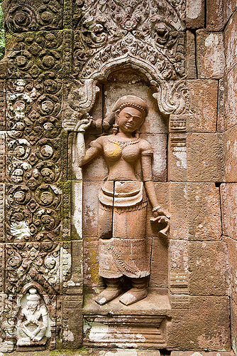 statue of khmer goddess holding her pony-tail - wat phu champasak (laos), asian woman, carving, hindu temple, hinduism, khmer temple, main shrine, ruins, sanctuary, sculpture, stone