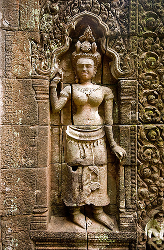 statue of khmer goddess - wat phu champasak (laos), asian woman, carving, goddess, hindu temple, hinduism, khmer temple, main shrine, ruins, sanctuary, sculpture, statue, stone, wat phu champasak