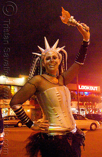 statue of liberty costume - halloween, hat, liberty statue costume, night, people, woman