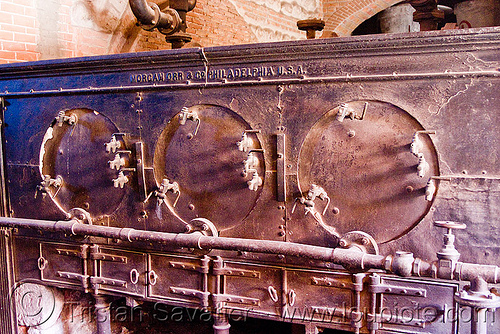 steam boiler - morgan, orr & co, casa de la moneda, casa nacional de moneda, furnace, mint, minting, morgan, orr & co, pipes, potosí, steam boiler, valves