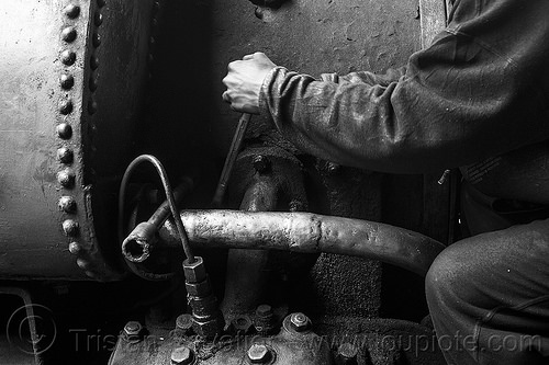 steam locomotive maintenance work in darjeeling (india), 791, brass pipe, darjeeling himalayan railway, darjeeling toy train, fixing, india, man, narrow gauge, railroad, repairing, steam engine, steam locomotive, steam train engine, worker, working, wrench