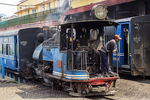 steam locomotive - passenger train - darjeeling station (india), 782 mountaineer, darjeeling himalayan railway, darjeeling toy train, india, man, narrow gauge, operator, railroad, smoke, smoking, steam engine, steam locomotive, steam train engine, train cars, train station, worker