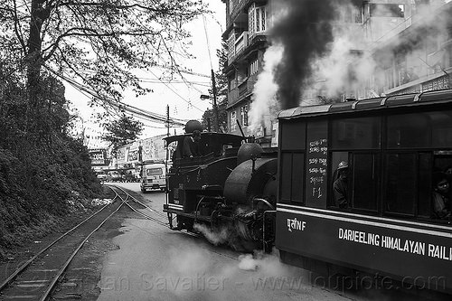 "steam locomotive pulling the darjeeling ""toy train"" (india), 782 mountaineer, darjeeling himalayan railway, darjeeling toy train, india, narrow gauge, railroad tracks, road, smoke, smoking, steam engine, steam locomotive, steam train engine, train car"