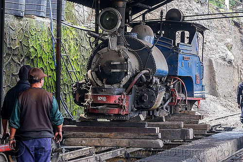 "steam locomotive ""queen of the hills"" undergoing maintenance at the darjeeling train yard (india), 804 queen of the hills, darjeeling himalayan railway, darjeeling toy train, india, men, narrow gauge, railroad, steam engine, steam locomotive, steam train engine, train depot, train yard, workers"