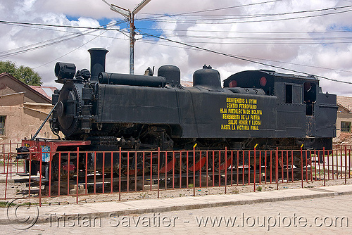 steam locomotive - railroad monument - uyuni (bolivia), bolivia, enfe, fca, monument, railroad, railway, steam engine, steam locomotive, steam train engine, uyuni