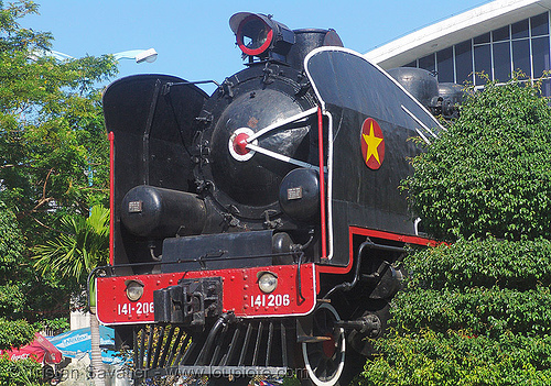 steam locomotive - vietnam, 141206, antique, monument, railroad, steam engine, steam train engine, train steam engine