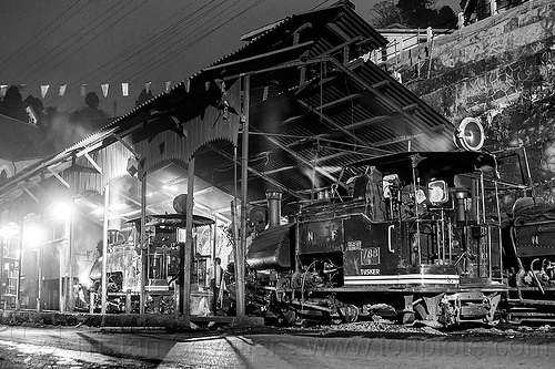 steam locomotives - night - darjeeling train yard (india), 788 tusker, 791, darjeeling himalayan railway, darjeeling toy train, india, narrow gauge, night, railroad, smoke, smoking, steam engine, steam locomotive, steam train engine, train depot, train yard
