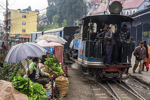steam train departing from darjeeling (india), 782 mountaineer, darjeeling himalayan railway, darjeeling toy train, farmers market, men, narrow gauge, operator, railroad, salads, stall, steam engine, steam locomotive, steam train engine, street market, train cars, train station, umbrellas, vegetables, vendors