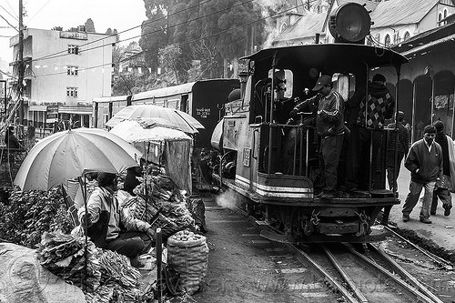 steam train departing from darjeeling (india), 782 mountaineer, darjeeling himalayan railway, darjeeling toy train, farmers market, india, men, narrow gauge, operator, railroad, salads, stall, steam engine, steam locomotive, steam train engine, street market, street seller, train cars, train station, umbrellas, vegetables, vendors