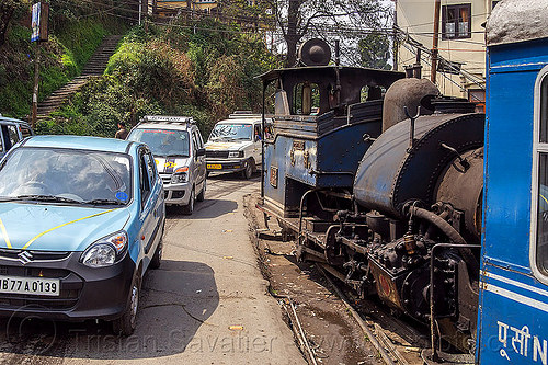 steam train sharing the road with cars - darjeeling (india), 782 mountaineer, cars, darjeeling himalayan railway, darjeeling toy train, narrow gauge, railroad, road, steam engine, steam locomotive, steam train engine, street, traffic