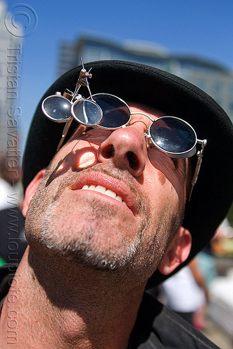steampunk magnifying glasses, eyeglasses, eyewear, hat, how weird festival, loupes, magnifiers, magnifying glasses, man, spectacles, steampunk, sunglasses