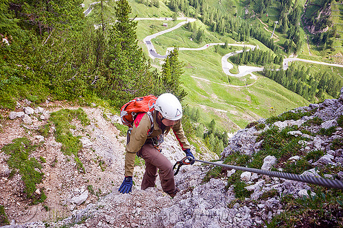 steel cable - via ferrata (dolomites), alps, cliff, climber, climbing harness, climbing helmet, dolomites, dolomiti, ferrata tridentina, mountain climbing, mountaineer, mountaineering, mountains, rock climbing, vertical, via ferrata brigata tridentina, woman