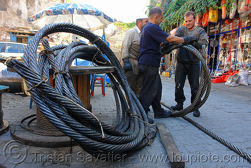 steel cables, cables, industrial, istanbul, men, rolling, rools, steel cable, street, workers