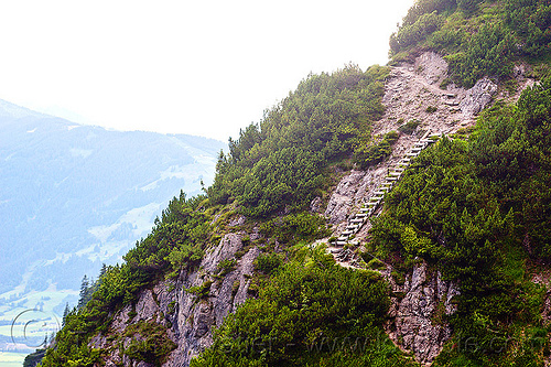 steep trail with wooden ladder - mountain hiking, austria, austrian alps, ferrata, mountains, rugged, saalfelden, via ferrata