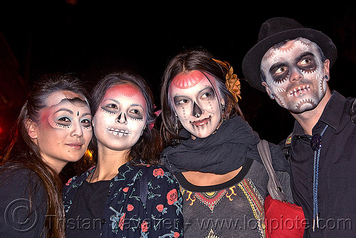 stencil airbrush skull makeup - four - dia de los muertos - halloween (san francisco), airbrush, day of the dead, dia de los muertos, face painting, facepaint, four, galen, halloween, icarus zaure, jessica, man, night, stencil, sugar skull makeup, women