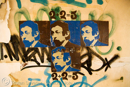 stencil graffiti - abandoned hospital (presidio, san francisco) - PHSH, 2+2=5, abandoned building, abandoned hospital, decay, graffiti, presidio hospital, presidio landmark apartments, stencil, street art, trespassing, two plus two makes five, urban exploration