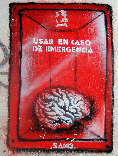 stencil graffiti (granada, spain), andalucía, brain, graffiti, granada, sam3, stencil, street art, usar en caso de emergencia