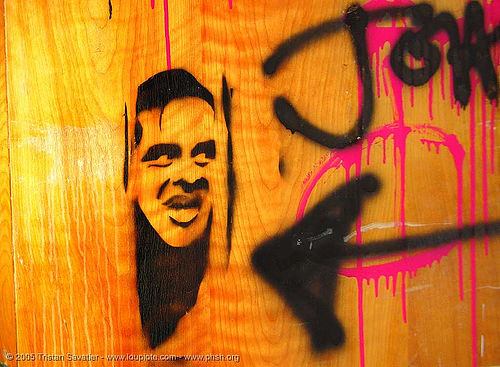 stencil-johnny - door - abandoned hospital (presidio, san francisco) - phsh, abandoned building, abandoned hospital, art, decay, graffiti, johnny, presidio hospital, presidio landmark apartments, stencil, the shining, trespassing, urban exploration