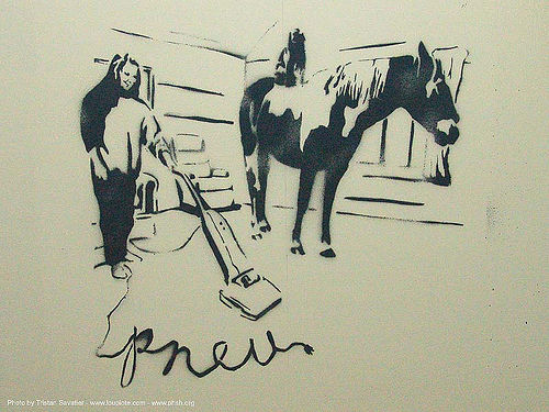 stencil-pneu - horse - abandoned hospital (presidio, san francisco) - phsh, abandoned building, abandoned hospital, decay, graffiti, presidio hospital, presidio landmark apartments, stencil, street art, trespassing, urban exploration