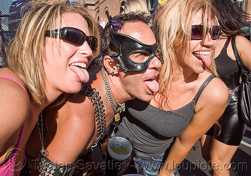 sticking tongue out, folsom street fair, man, sticking out tongue, sticking tongue out, three, tongues, women