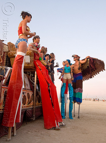 stilts performers from the circus metropolus camp - burning man 2009, burning man, circus metropolus, kelley, stilts performers, stiltwalkers, stiltwalking