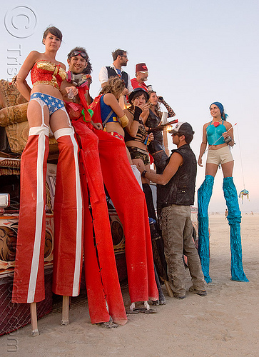 stilts performers  from the circus metropolus camp - burning man 2009, burning man, circus metropolus, kelley, red, stilts performers, stiltwalkers, stiltwalking