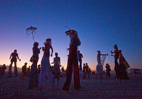 stiltwalkers at dawn, backlight, burning man, dawn, performance, stilts, stiltwalkers, stiltwalking