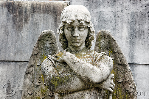 angel statue, angel wings, buenos aires, cemetery, crossed arms, grave, graveyard, recoleta, recoleta cemetery, sculpture, stone, tomb
