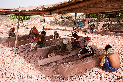 stonecarvers - mandu (india), mandav, men, people, stonemasons, stones, workers, working