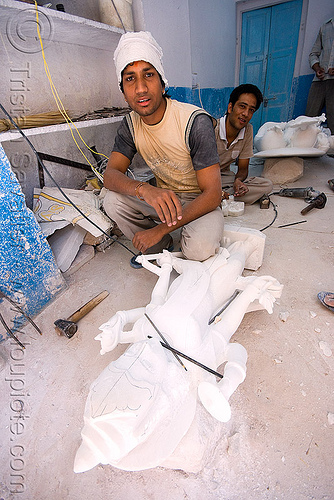 stone carvers in workshop - carving stone statues (jaipur), india, jaipur, stonecarvers, stonemasons