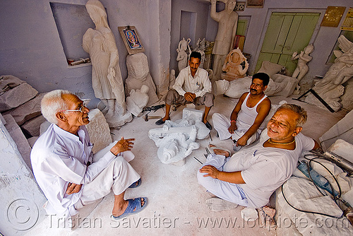 stone carvers sitting in their workshop  - jaipur (india), india, jaipur, stonecarvers, stonemasons