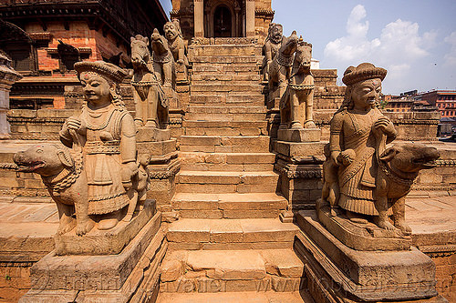 stone stair to temple - bhaktapur durbar square (nepal), hindu temple, hinduism, sculptures, stairs, statues, steps