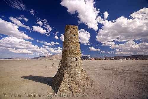 stone tower - playa ruins - burning man 2007, art installation, playa ruins, tower
