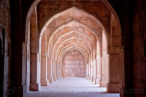 stone vaults - palace ruins - mandu (india), architecture, mandav, mandu, perspective, stone, vanishing point, vaults