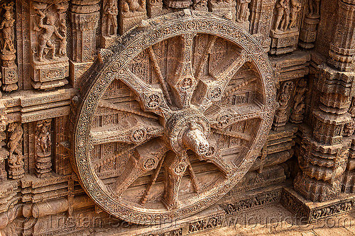 stone wheel with erotic carvings - konark sun temple (india), carving, erotic sculptures, high-relief, hindu temple, hinduism, konark sun temple, maithuna, stone wheel