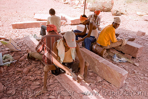 stonemasons at work - palace restoration - mandu (india), india, mandav, mandu, men, stonecarvers, stonemasons, workers, working