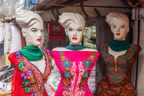 store dummies look unhappy (india), almora, clothing store, cloths, dress, dresses, embroidered, market, shop