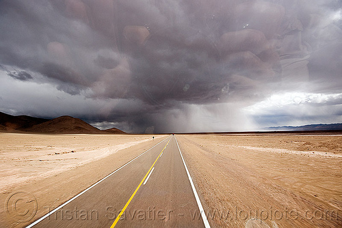 storm on desert road, altiplano, cloud, cloudy, desert, noroeste argentino, pampa, perspective, rain, rainy, storm, stormy, straight road, vanishing point, weather