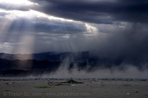 stormy sky over black rock city - burning man 2007, burning man